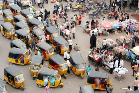 Hyderabad,AP,India-April 21, 2011-indian street market as viewed from the 400 year old Charminar, a manument and icon of the city Editorial