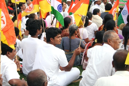 political and social issues: Hyderabad,AP,India-June 11,2011-Supporters of Baba Ram Dev , before taking a rally,condemning the arrest  of Baba in New Delhi during his hunger strike demanding anti curruption bill by Govenament.