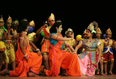 Hyderabad,Ap,India-May 15,2012-Dr G Padmaja Reddy of Pranav Institute of kuchipudi dance with students performs Ramayana dance ballet to non stop chanting of Hanuman Chalisa on Hanuman Jayanthi day.