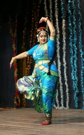 Hyderabad,Ap,India-May 11,2012-Telugu film actress Manju Bhargavi performs Kuchipudi dance,Popular classical dance form, in naatya tharang at Sri Thyagaraja Gana Sabha.
