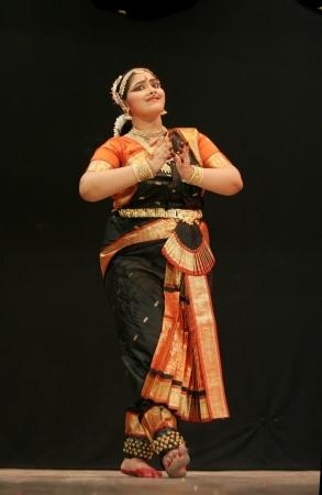 Hyderabad,Ap,India-May 12,2012- Kumari sharanya performs Bharatanatyam dance ,popular classical dance form of Tamil Nadu. in Nrithya Hela at ravindra bharati. Stock Photo - 13686297