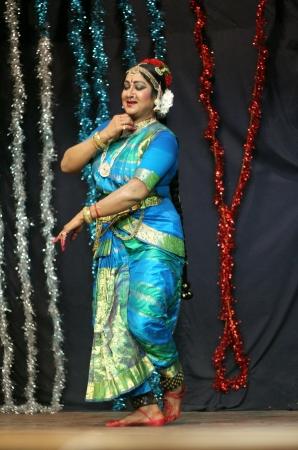 Hyderabad,Ap,India-May 11,2012-Telugu film actress Manju Bhargavi performs Kuchipudi dance,Popular classical dance form, in naatya tharang at Sri Thyagaraja Gana Sabha.