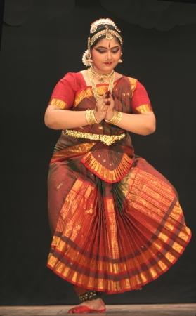 Hyderabad,Ap,India-May 12,2012- Kumari sharanya  performs Bharatanatyam dance ,popular classical dance form of Tamil Nadu. in Nrithya Hela at ravindra bharati. Stock Photo - 13686299