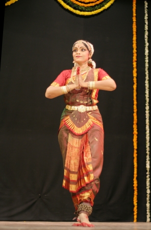 Hyderabad,Ap,India-May 12,2012- Shantha srikanth performs Bharatanatyam dance ,popular classical dance form of Tamil Nadu. in Nrithya Hela at ravindra bharati.