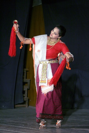 Hyderabad,Ap,India-April 08,2012- Smt.savanabrata sircar performs Manipuri dance,a major form of indian classical dance originated in Early 15th century,  during Naatya tarang event.