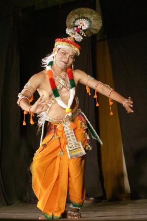 indian classical dance: Hyderabad,Ap,India-April 08,2012- Savanabrata sircar performs Manipuri dance,a major form of indian classical dance originated in Early 15th century,  during Naatya tarang event.