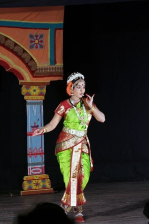 Hyderabad,Ap,India-April 08,2012- Dr.Sobha naidu ,popular dancer with many honours,performs Krishna Parijatham Kuchipudi dance during Naatya Tarang event.