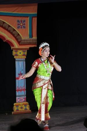 kuchipudi: Hyderabad,Ap,India-April 08,2012- Dr.Sobha naidu ,popular dancer with many honours,performs Krishna Parijatham Kuchipudi dance during Naatya Tarang event.  Editorial