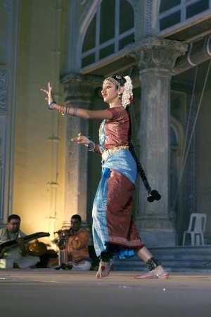 Hyderabad,Ap,India-April 19,2012 -Mahitha kannan of Dr.Padma Subramaniam troupe performing Bharathanrithyam during heritage week at chowmohalla palace built in 1869 by Nizams of Hyderabad state.