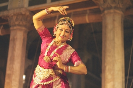choreographer: Hyderabad,Ap,India-April 19,2012 -Dr.Padma Subramaniam performing Bharathanrithyam during heritage week at chowmohalla palace built in 1869 by Nizams of Hyderabad state. Editorial