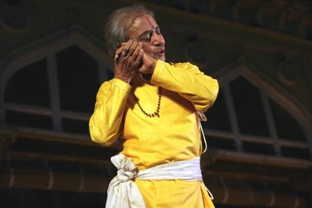 prem: Hyderabad,Ap,India-April 24,2012-Padma Vibhushan Pandit Birju Maharaj leading exponent of Kathak dance performs during Heritage Week celebrations at Chowmohalla Palace built in 1869 by Nizams of Hyderabad state.