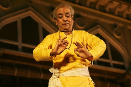 prem: Hyderabad,Ap,India-April 24,2012-Padma Vibhushan Pandit Birju Maharaj leading exponent of Kathak dance performs during Heritage Week celebrations at Chowmohalla Palace built in 1869 by Nizams of Hyderabad state.