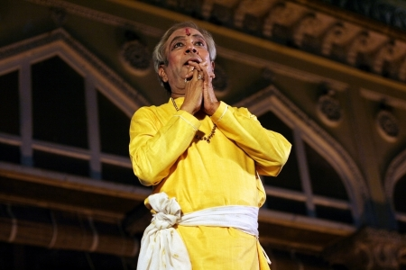 choreographer: Hyderabad,Ap,India-April 24,2012-Padma Vibhushan Pandit Birju Maharaj leading exponent of Kathak dance performs during Heritage Week celebrations at Chowmohalla Palace built in 1869 by Nizams of Hyderabad state.