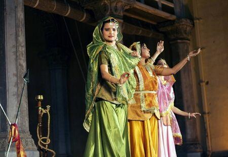 padma: Hyderabad,Ap,India-April 24,2012-Artists of Padma Vibhushan Pandit Birju Maharaj, leading exponent of Kathak dance, group  performs during Heritage Week celebrations at Chowmohalla Palace built in 1869 by Nizams of Hyderabad state.