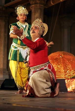 Hyderabad,Ap,India-April 24,2012-Artists of Padma Vibhushan Pandit Birju Maharaj, leading exponent of Kathak dance, group  performs during Heritage Week celebrations at Chowmohalla Palace built in 1869 by Nizams of Hyderabad state. Stock Photo - 13686307