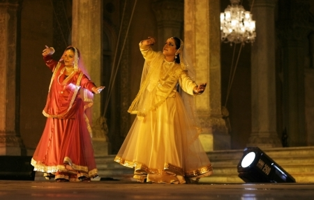 shri: Hyderabad,Ap,India-April 23,2012-Kathak Dancers Mangala bhatt and Deepti Gupta perform during heritage week event at chowmohalla palace built in 1869 by Nizams of Hyderabad state.