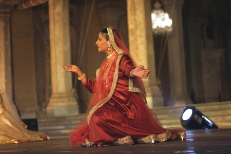 choreographer: Hyderabad,Ap,India-April 23,2012-Canadian Kathak dancer and choreographer Deepti gupta performs during heritage week at chowmohalla palace built in 1869 by Nizams of Hyderabad state.  Editorial