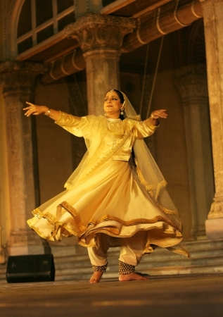 Hyderabad,Ap,India-April 23,2012-Kathak dancer Mangala Bhatt,Associcate of Pt. Birju Maharaj ji,  performs during heriitage week celebrations at chowmohalla palace built in 1869 by Nizams of Hyderabad state.