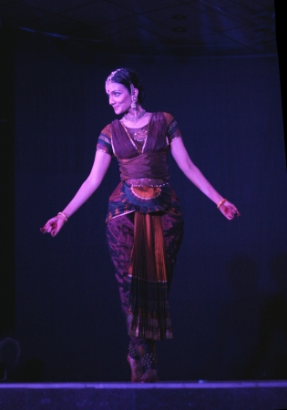 bharatanatyam dance: Hyderabad,Ap,India- August 04,2012-Bharatnatyam exponent Savitha sastry performing soul cages solo dance with the life of the cosmos theme.