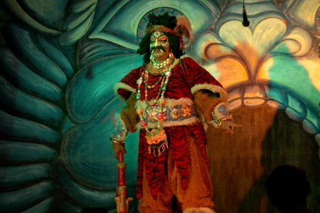 mahabharata: Hyderabad,AP,India-July 08,2012:125 year old surabhi theatre, a family based group,performing maya bazaar mythological play from mahabharata,similar to Yakshagaana.