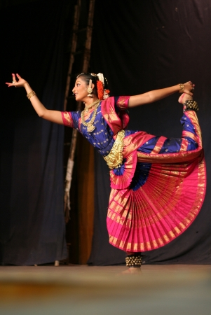rhythms: Hyderabad,Ap,India- June 16,2012-Krihika performing bharatanatyam, a classicla indian dance form in Thyagaraya gana sabha in ICCR event. Editorial