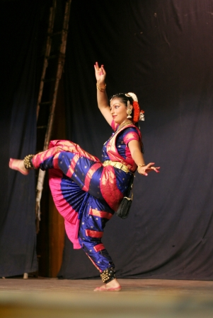 solo form: Hyderabad,Ap,India- June 16,2012-Krihika performing bharatanatyam, a classicla indian dance form in Thyagaraya gana sabha in ICCR event. Editorial