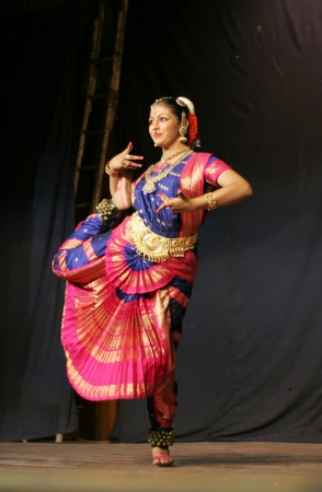 Hyderabad,Ap,India- June 16,2012-Krihika performing bharatanatyam, a classicla indian dance form in Thyagaraya gana sabha in ICCR event.