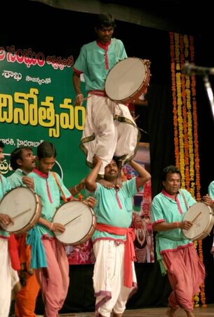 andhra: Hyderabad,Ap,India- August 22,2012-Tribal group from Andhra pradesh performing Dappu Dance during world folk day celebrations.  Editorial