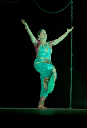 bharatanatyam dance: Hyderabad,Ap,India- August 24,2012:Smt Rajeswari sainath performing Bharatanatyam during anniversary celebration of vyshnavie dance academy at Ravindra Bharati.