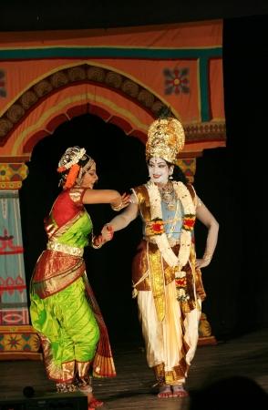 kuchipudi: Hyderabad,Ap,India- April 08,2012:Dr.Sobha naidu performs Krishna Parijatham Kuchipudi dance during Naatya Tarang. Popular Dancer worldwide with many honours for dance.
