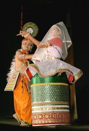 indian classical dance: Hyderabad,Ap,India- April 08,2012:Savanabrata sircar performs Manipuri dance during Naatya tarang.Major form of indian classical dance dating back to 15th century.