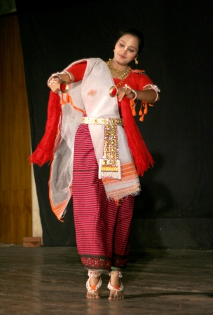 enact: Hyderabad,Ap,India- April 08,2012:Savanabrata sircar performs Manipuri dance during Naatya tarang.Major form of indian classical dance dating back to 15th century.
