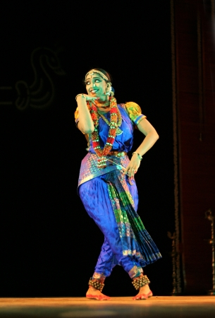 indian classical dance: Hyderabad,Ap,India- September 04,2012:Vaishnavi sainath performing Bharatanatyam recital navarasa at Ravindra Bharati.