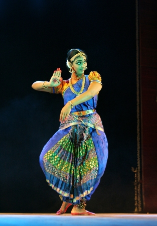 Hyderabad,Ap,India- September 04,2012:Vaishnavi sainath performing Bharatanatyam recital navarasa at Ravindra Bharati. Stock Photo - 15131801