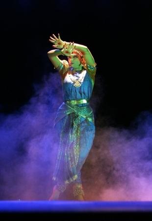 footwork: Hyderabad,Ap,India- September 04,2012:Vaishnavi sainath performing Bharatanatyam recital navarasa at Ravindra Bharati.