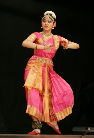 bharatanatyam dance: Secunderabad,Ap,India-June 05,2012-Eshita Jayaswal performs Bharatanatyam dance at ravindra bharati, A popular classical dance form of Tamil Nadu state.
