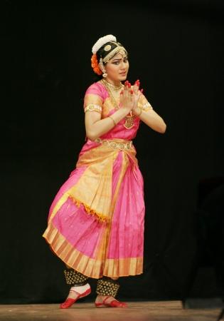 solo form: Secunderabad,Ap,India-June 05,2012-Eshita Jayaswal performs Bharatanatyam dance at ravindra bharati, A popular classical dance form of Tamil Nadu state.