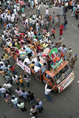 procession: Hyderbad,Ap,India- September 29,2012-People transport Lord Ganesha idols for immersion in water bodies on 11th day after Ganesh Chathurthi, a hindu festival,an annual religious event.
