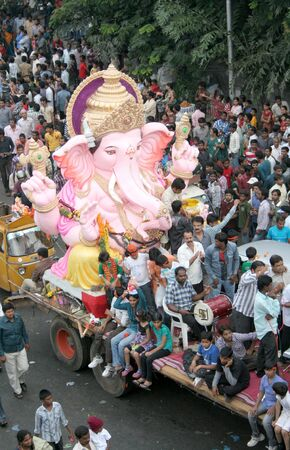 religious event: Hyderbad,Ap,India- September 29,2012-People transport Lord Ganesha idols for immersion in water bodies on 11th day after Ganesh Chathurthi, a hindu festival,an annual religious event.