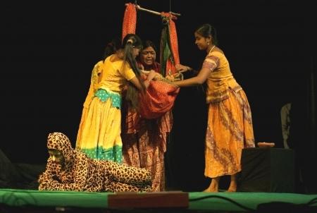 devi: Hyderabad,Ap,India-October 27,2012-Artists of Komali Kalasamithi of Nalgonda perform Atma Geetham with conservation of nature theme during kalarchana by bharateeyam event.  Editorial