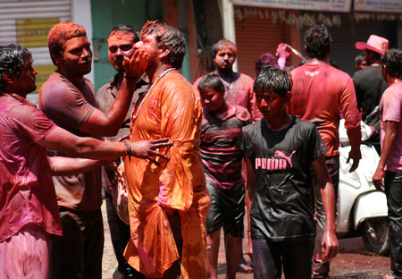 Hyderabad,Ap,India-March 17,2014-Indian hindus celebrate Holi festval A traditional Spring festival also known as festival of colors and festival of love