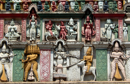 17 year old: Hyderabad,India-April 17:Architectural details of 200 year old hindu god balaji venkateswar temple Gopuram, the entrance on April 17,2016 in Hyderabad,India