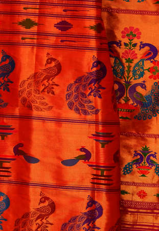 Close-up view of Indian woman traditional wear saree or sari in shop display