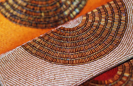 Close-up view of Indian woman hand bag or purse in a shop display for sale Imagens
