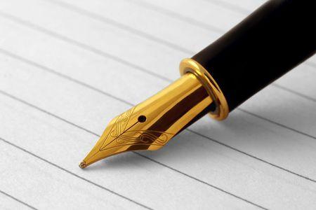 Elegant fountain pen on paper Stock Photo