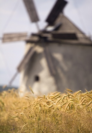 old windmill in the field photo