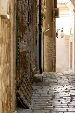 Alleyway in a Croatian old historical street photo