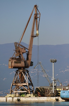 Tower crane in the harbor photo