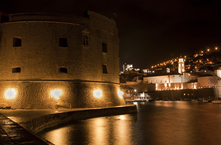 Detail of the beautiful old town at night in Dubrovnik, Croatia photo