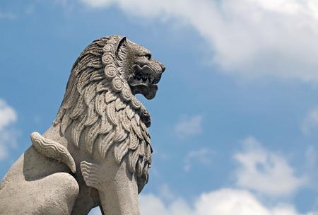 bastion: Beautiful lion statue in Budapest Fisherman39s Bastion